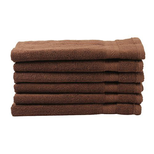 Fresh From Loom Towel for Gym, Cotton Towels, Soft, Highly Absorbent, Set of 6 Hand Towels for Home, Kitchen, Bathroom or Spa, 16 X 28 Inch, Brown