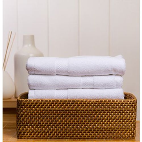 Fresh From Loom Towel for Gym Cotton Fabric 500 GSM Towel (White, 16x30 inch) - 3pc Set for Kitchen, Home, Bathroom or Spa, Wash Basin Towel