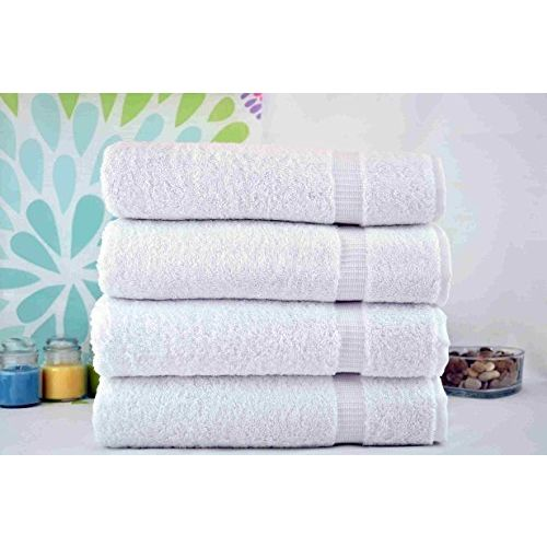 Fresh From Loom Towel for Gym Cotton Fabric 500 GSM Towel (White, 16x30 inch) - 4pc Set for Kitchen, Home, Bathroom or Spa, Wash Basin Towel