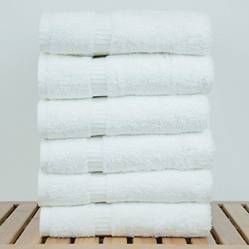 Fresh From Loom Towel for Gym Cotton Fabric 500 GSM Towel (White, 16x30 inch) - 6pc Set for Kitchen, Home, Bathroom or Spa, Wash Basin Towel