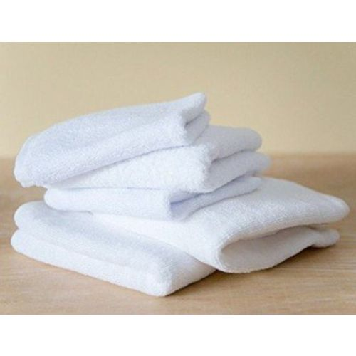 Fresh From Loom Towel for Gym Cotton Fabric 500 GSM Towel (White, 16x30 inch) - 5pc Set for Kitchen, Home, Bathroom or Spa, Wash Basin Towel