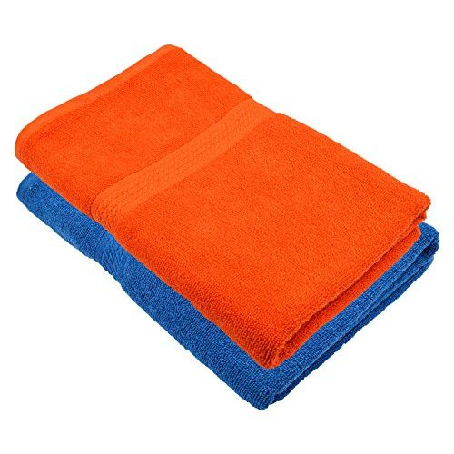 Fresh From Loom Towel for Bath 450 GSM Cotton Fabric (Size -27 x 54 inch) 2pc - Blue and Orange Color Set