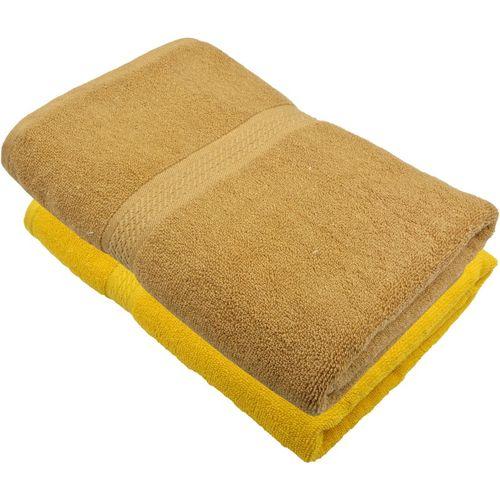 Freshfromloom Cotton 450 GSM Bath Towel(Pack of 2, Yellow, Brown)