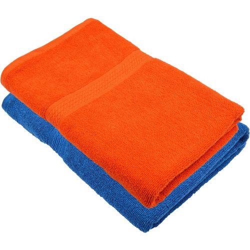 Freshfromloom Cotton 450 GSM Bath Towel(Pack of 2, Blue, Orange)
