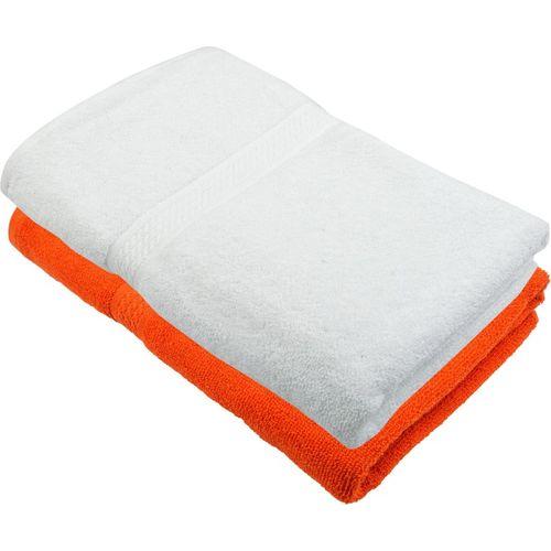 Freshfromloom Cotton 450 GSM Bath Towel(Pack of 2, Orange, White)