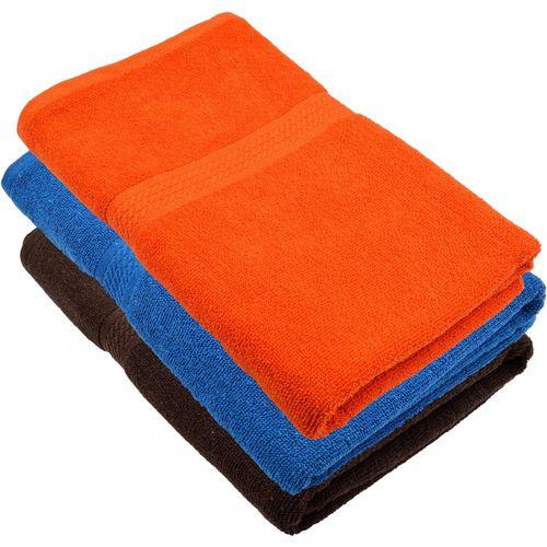 Freshfromloom Cotton 450 GSM Bath Towel(Pack of 3, Blue, Multicolor, Orange)