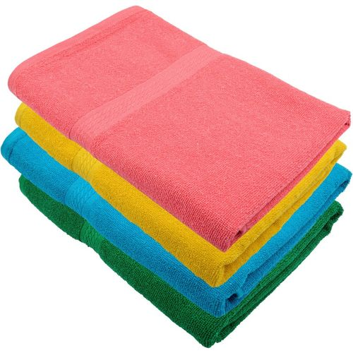 Freshfromloom Cotton 450 GSM Bath Towel(Pack of 4, Yellow, Pink, Light Blue, Light Green)