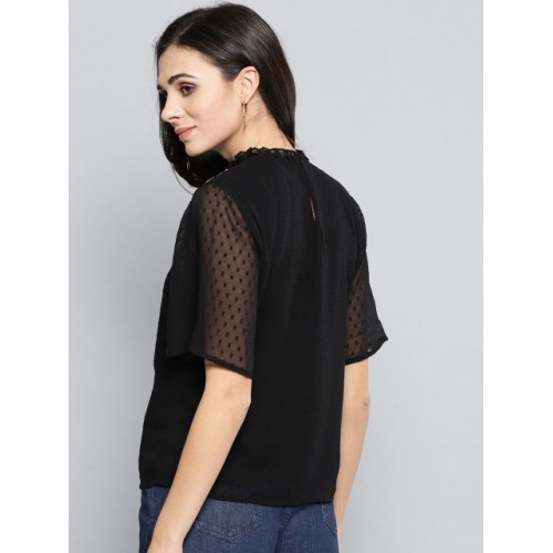Harpa Black Polyester & Sheer Flutter Sleeves Solid Top