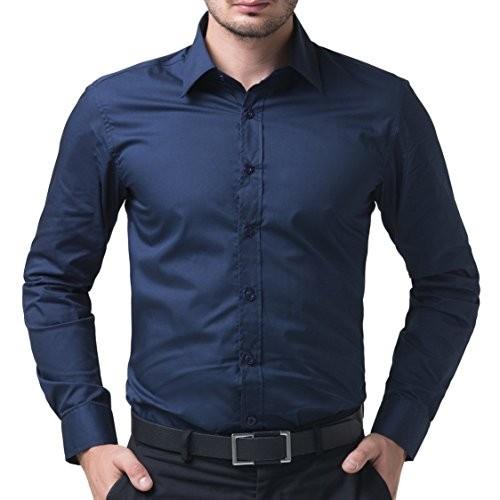 BS Fashion Navy Blue Cotton Full Sleeve Slim Fit Plain Formal Shirt