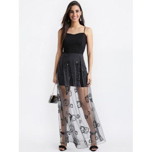 Kazo Black Polyester & Semi Sheer Solid Layered Maxi Dress