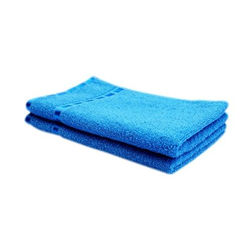 Space Fly Fine Soft & Cotton Plain 4 Hand Towels (12X18 Inch_Blue, Pink, Cherry & Carrot Pink)