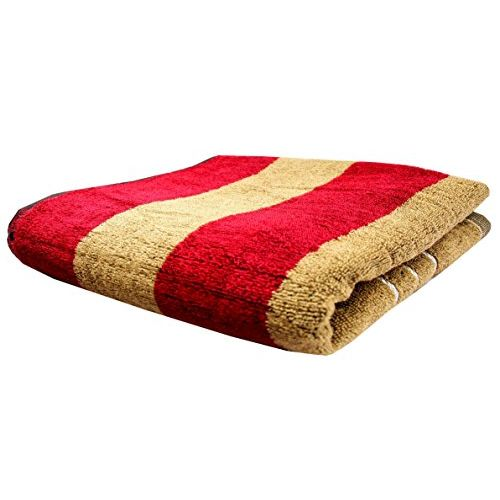 Space Fly Love Touch Skin Friendly Soft, Lite Weight Red & Brown Striped Terry Cloth Bath Towels, Clean & Dry (Size : 24X50 inch)