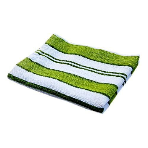 Space fly Striped Hand Towels High Absrobent (Set of 6)-, 12 inch X 18 inch (Green & White)