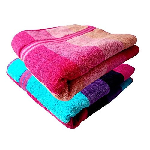 Space Fly Soft & Cotton Striped 2 Big Size Bath Towel, Touch to Good Feel (Size: 30X60 Inch_Cabana_Multi Color)