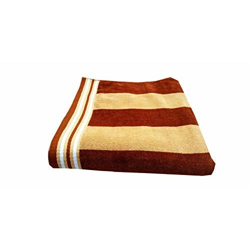 Space Fly Soft & Cotton Striped Big Size Bath Towel, Touch to Good Feel (Size: 28X58 Inch_Multi Color_1 Piece)