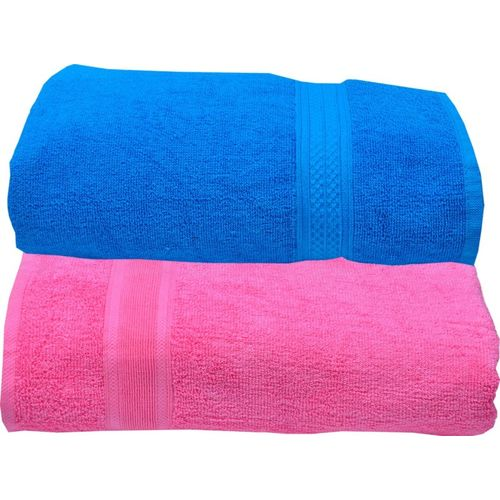 Space Fly Cotton 450 GSM Bath Towel Set(Pack of 2, Blue, Pink)