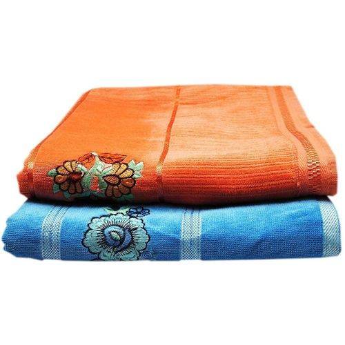 Space Fly Cotton Terry 450 GSM Bath Towel Set(Pack of 2, Blue, Peach)
