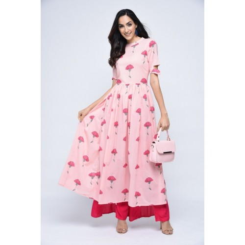 Stylum Pink Cotton Blend Floral Printed Ankle Length Kurti