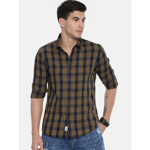 Roadster Men Khaki & Navy Blue Regular Fit Checked Casual Shirt