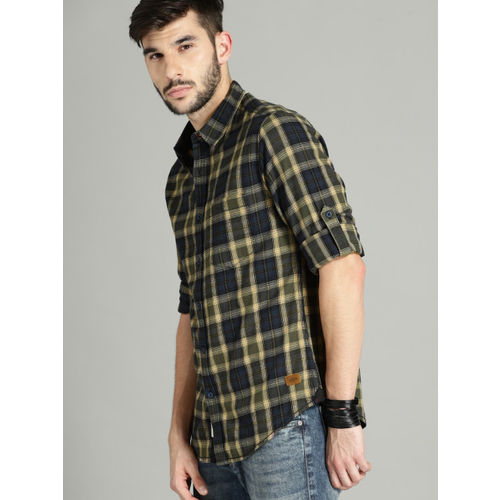 Roadster Men Navy & Olive Green Regular Fit Checked Casual Shirt