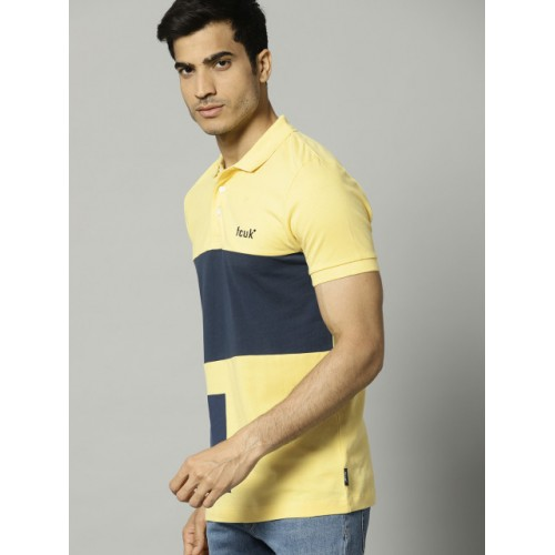 French Connection Yellow & Navy Blue Colourblocked Polo Collar T-shirt
