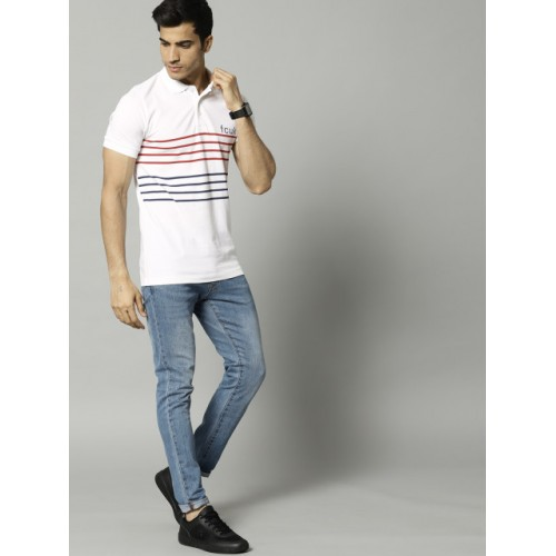 French Connection Men White Striped Polo T-shirt