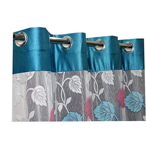 Homefab India RusselNet Modern 2 Piece Eyelet Polyester Door Curtain Set - 7ft, Turquoise