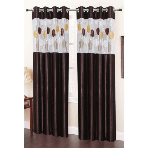 Homefab India 214 cm (7 ft) Polyester Door Curtain (Pack Of 2)(Plain, Brown)