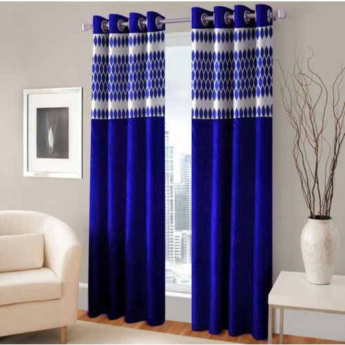Homefab India 213.5 cm (7 ft) Polyester Door Curtain (Pack Of 2)(Solid, Navy Blue)