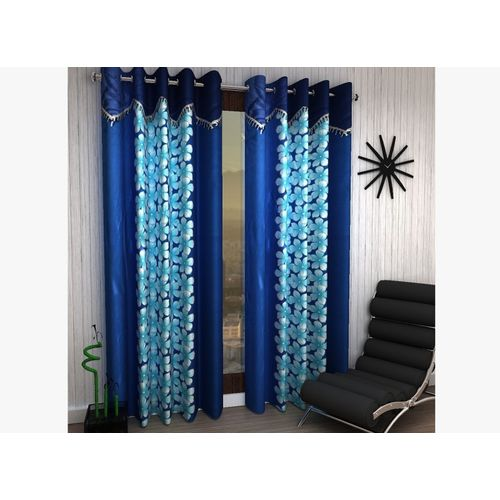 Homefab India 214 cm (7 ft) Polyester Door Curtain (Pack Of 2)(Floral, Blue)