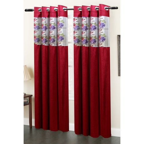 Homefab India 214 cm (7 ft) Polyester Door Curtain (Pack Of 2)(Floral, Maroon)