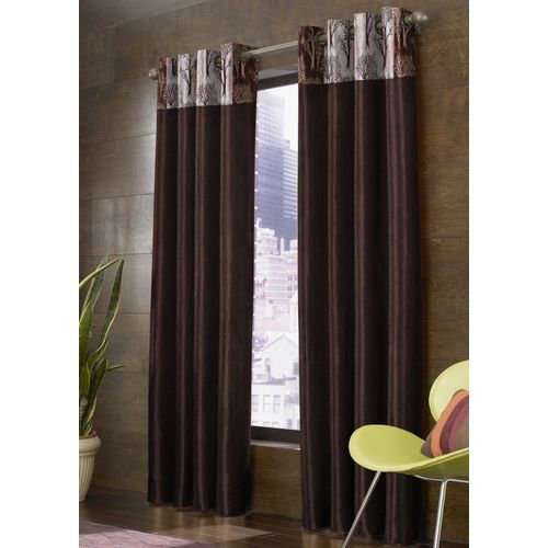 Homefab India 214 cm (7 ft) Polyester Door Curtain (Pack Of 2)(Floral, Brown)