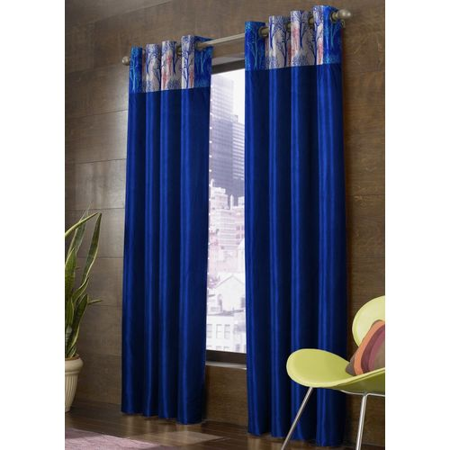 Homefab India 183 cm (6 ft) Polyester Window Curtain (Pack Of 2)(Floral, Blue)