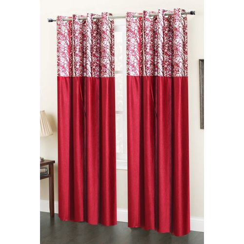 Homefab India 244 cm (8 ft) Polyester Long Door Curtain (Pack Of 2)(Abstract, Maroon)