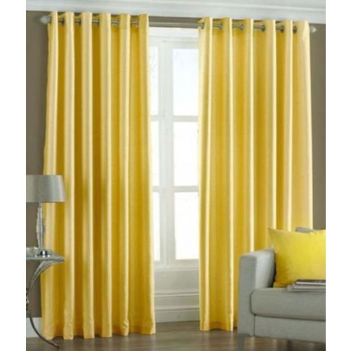 Homefab India 152.5 cm (5 ft) Polyester Window Curtain (Pack Of 2)(Solid, Yellow)