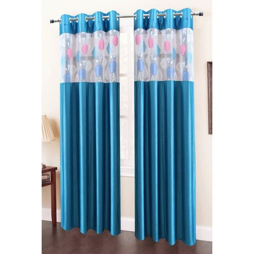 Homefab India 244 cm (8 ft) Polyester Long Door Curtain (Pack Of 2)(Floral, Blue)