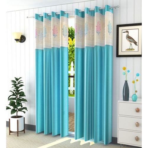 Homefab India 274.5 cm (9 ft) Polyester Long Door Curtain (Pack Of 2)(Floral, Blue)