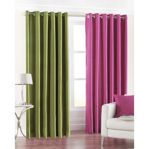 Homefab India 152.5 cm (5 ft) Polyester Window Curtain (Pack Of 2)(Solid, Multicolor)