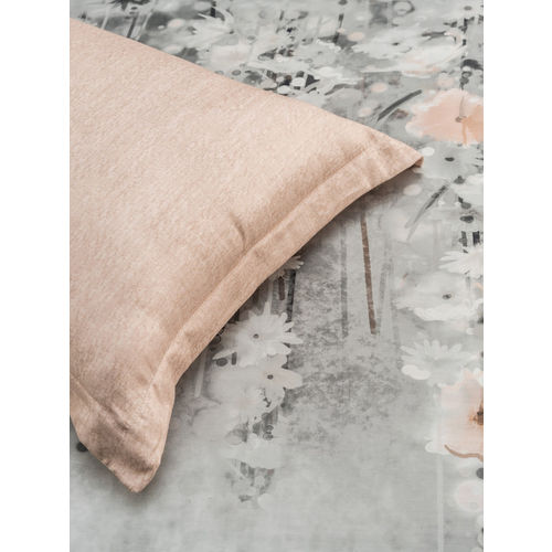 DDecor Grey & Orange Floral Flat 300 TC Cotton 1 King Bedsheet with 2 Pillow Covers