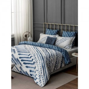 DDecor Blue Ethnic Motifs Flat 300 TC Cotton 1 King Bedsheet with 2 Pillow Covers