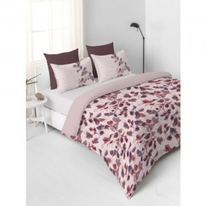 DDecor Red & Beige Floral Flat 130 TC Cotton 1 Double Bedsheet with 2 Pillow Covers