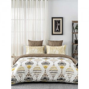 DDecor Brown & Yellow Flat 144 TC Cotton 1 Queen Bedsheet with 2 Pillow Covers