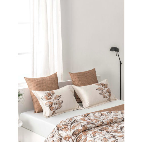 DDecor Beige Brown Floral Flat 300 TC Cotton King Bedsheet with 2 Pillow Covers