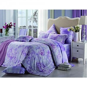 Raymond Magnus Tencel Double Bedsheet with 2 Pillow Covers - Purple (001072-BF01)