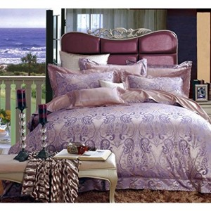 Raymond Clarence Cotton Viscose Double Bedsheet with 2 Pillow Covers - Lilac (001076-BF01)