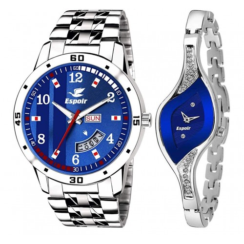 Espoir Analogue Stainless Steel Blue Dial Couple's Watch