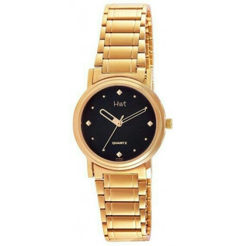 HWT Gold Plated Black Dail Couple Watches Combo Pack Of 2pcs