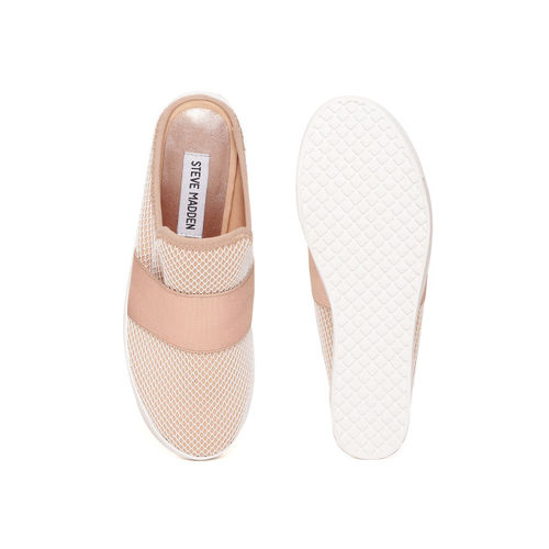 Steve Madden Women Peach-Coloured Textured Slip-On Sneakers