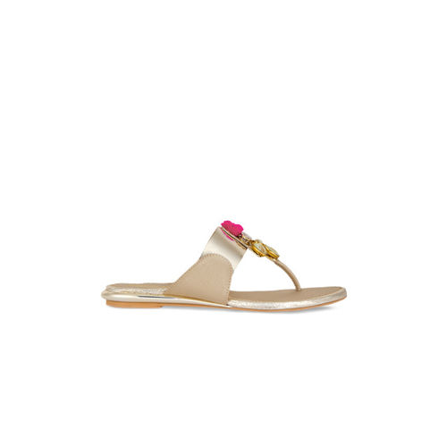 Signature Sole Women Gold-Toned Solid Synthetic T-Strap Flats