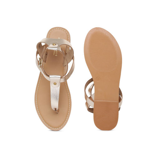 Steve Madden Women Gold-Toned Solid Leather Open Toe Flats